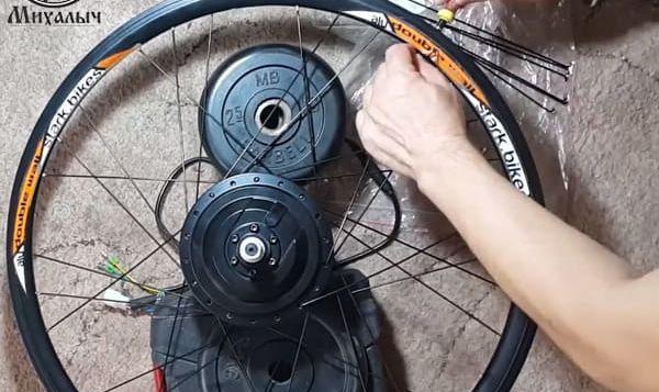 этап 4 Спицевание мотор колеса в три креста 26 обод длина спиц 233мм